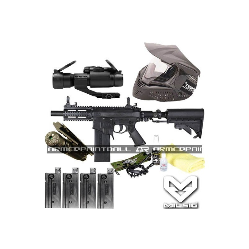 Milsig M17 M4 Mag Fed Paintball Marker with Bundle